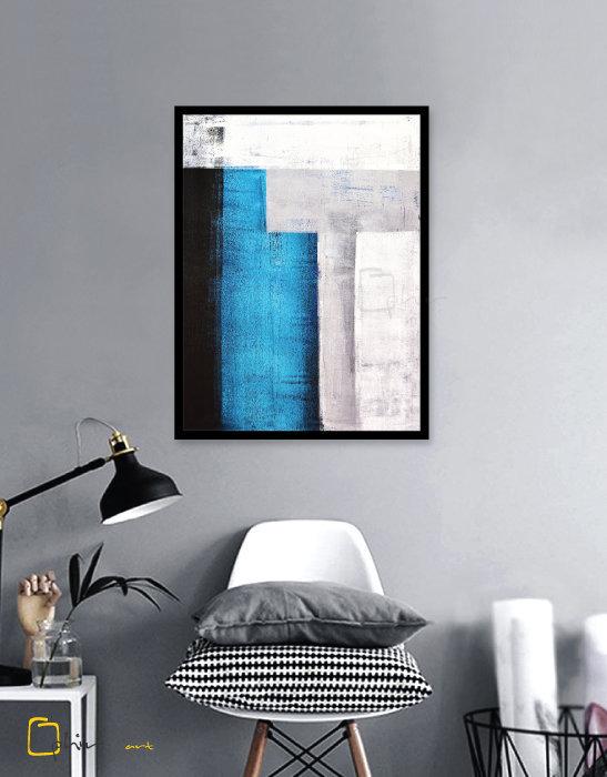 Concrete Blue - Wooden Frame - Black