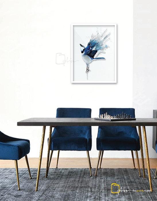 The Blue Sparrow - Plexiglass - White