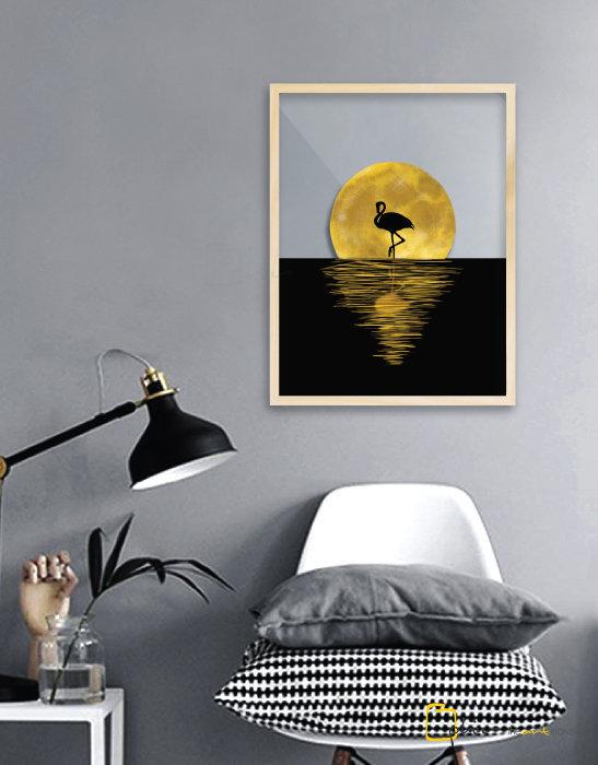 Night Flamingo - Plexiglass - Oak