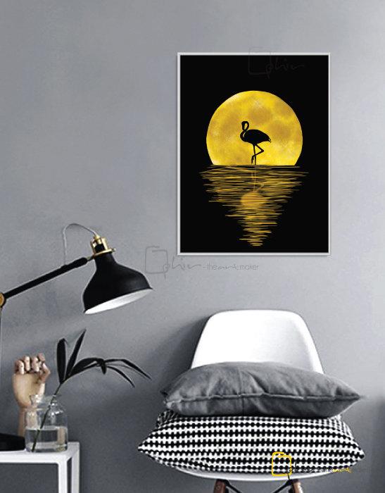 Night Flamingo - Floater Frame - White
