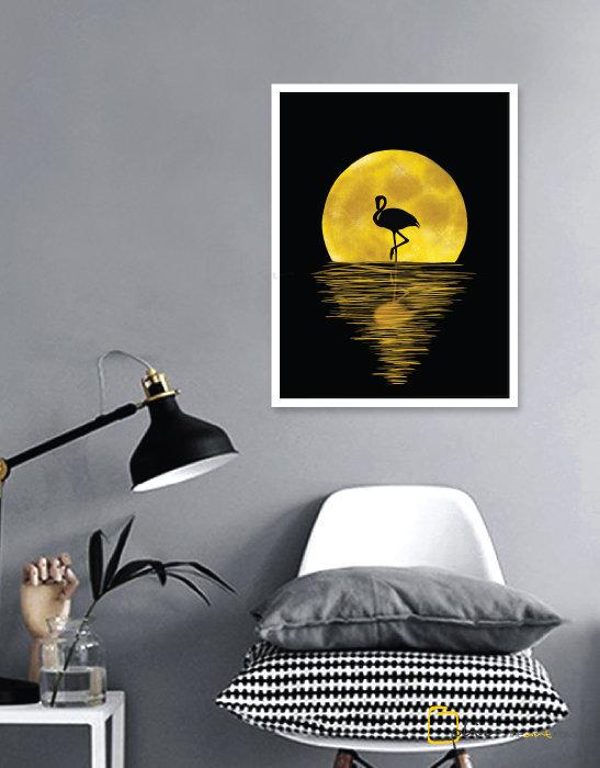 Night Flamingo - Wooden Frame - White