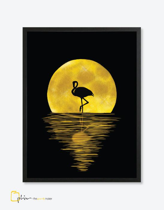 Night Flamingo - Wooden Frame
