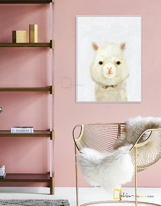 The Fluffy Fleece Llama - Floater Frame - White