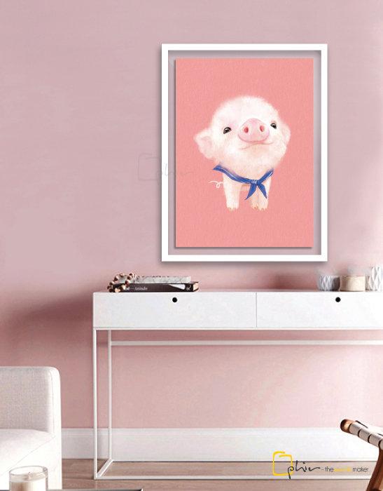 The Fluffy Fleece Piggy - Plexiglass - White