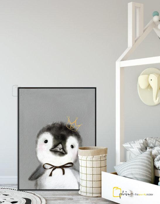 The Fluffy Fleece Penguin - Floater Frame - Black