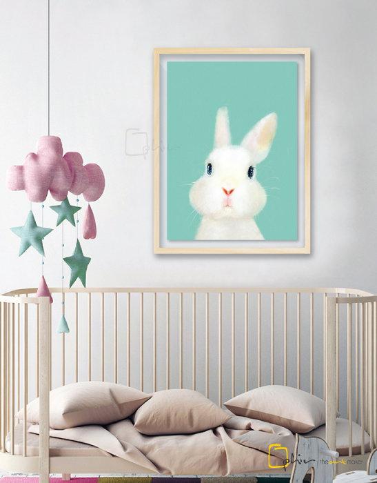The Fluffy Fleece Rabbit - Plexiglass - Oak