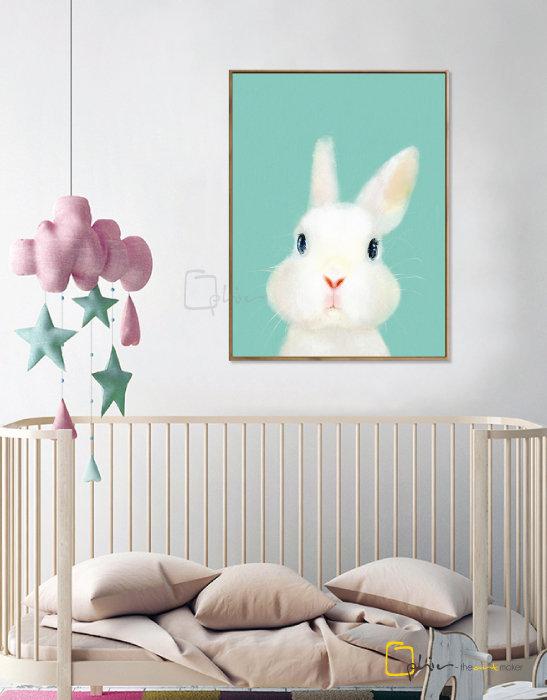 The Fluffy Fleece Rabbit - Floater Frame - Dark Oak