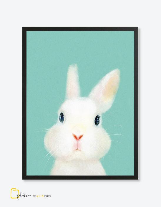 The Fluffy Fleece Rabbit - Wooden Frame