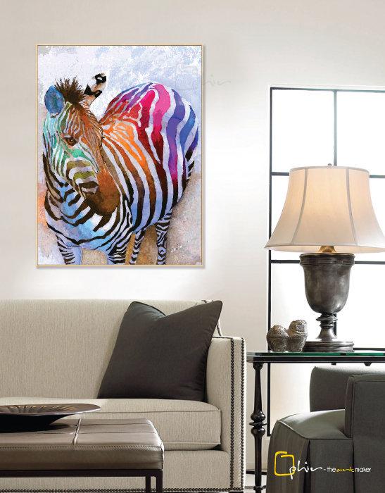 Colorful Equus - Floater Frame - Light Oak