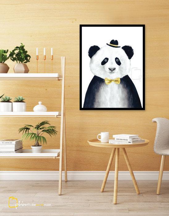 Mr Panda - Wooden Frame - Black