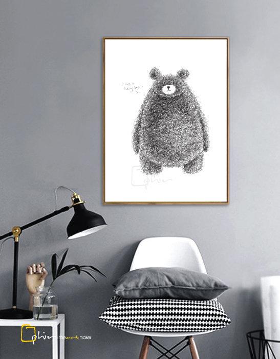 Hairy Bear - Floater Frame - Dark Oak