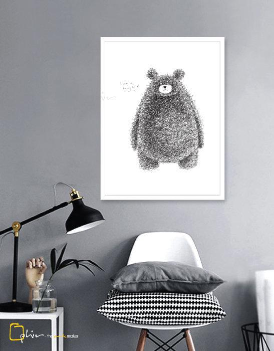 Hairy Bear - Wooden Frame - White