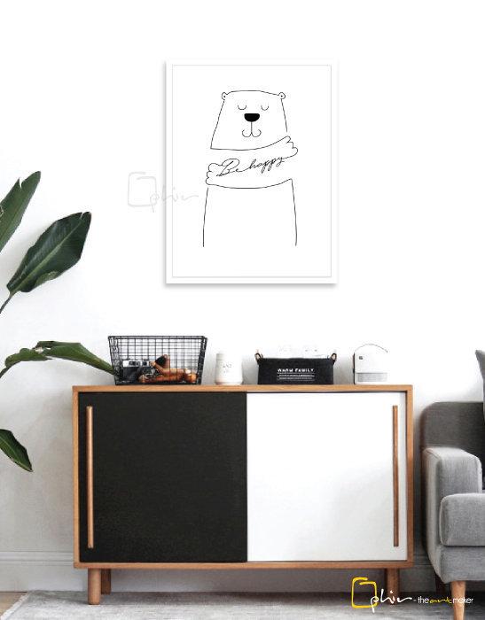 Bear Be Happy - Wooden Frame - White