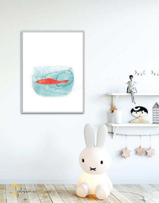 Little Orange - Floater Frame - White