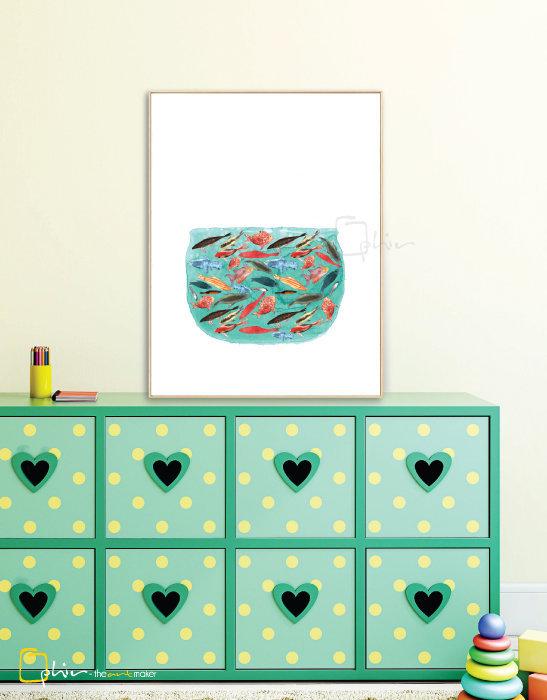 Little Orange With Friends - Floater Frame - Light Oak