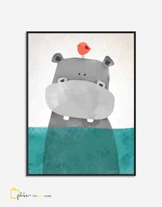 Eyeing Hippo - Floater Frame