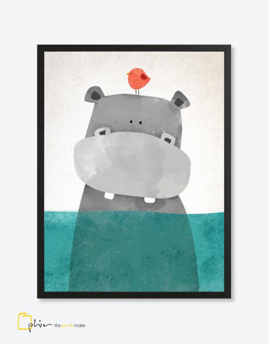 Eyeing Hippo - Wooden Frame