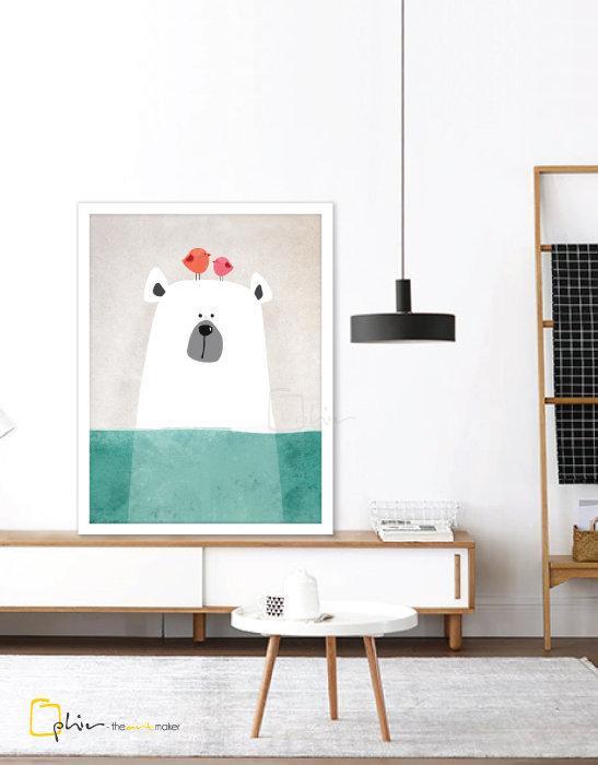 Ice Bear - Wooden Frame - White