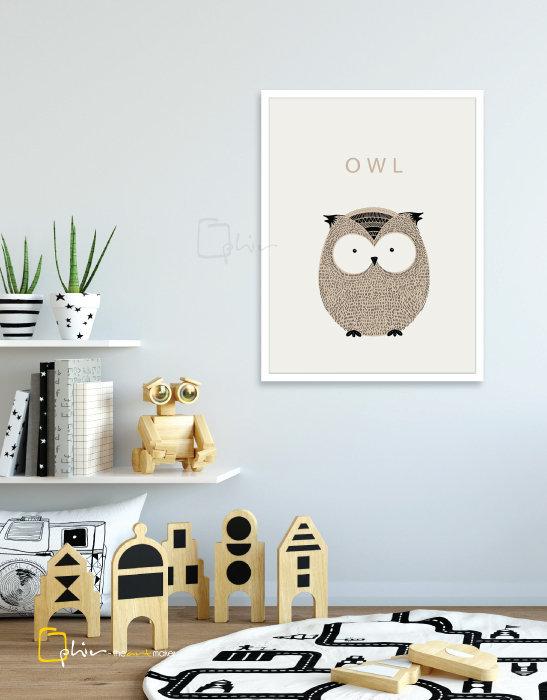 Scruffy Friends Owl - Wooden Frame - White