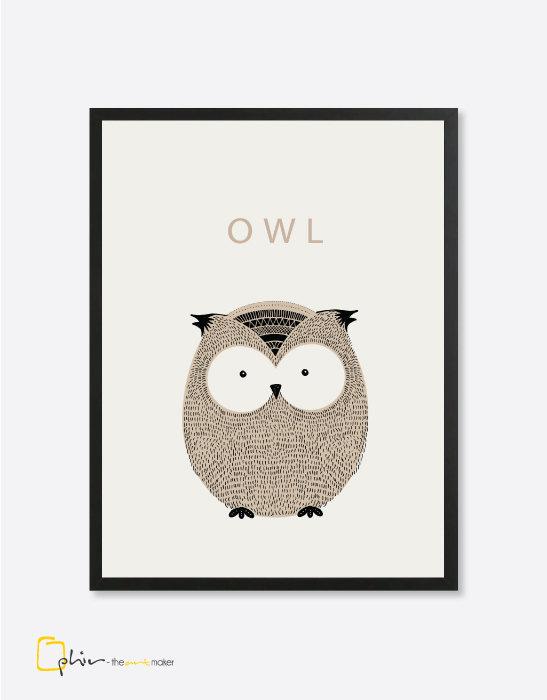 Scruffy Friends Owl - Wooden Frame
