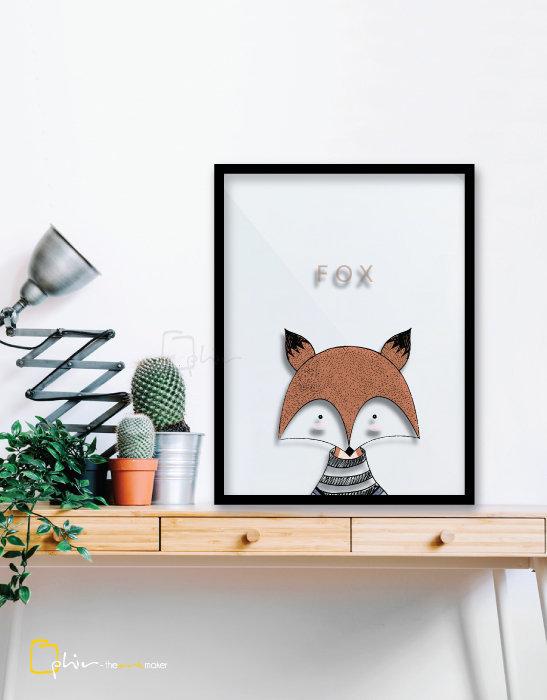 Scruffy Friends Fox - Plexiglass - Black