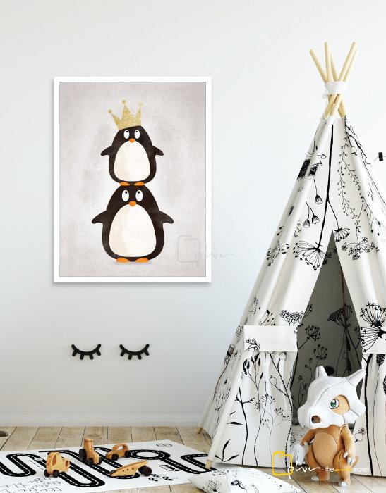 Emperor Penguins - Wooden Frame - White