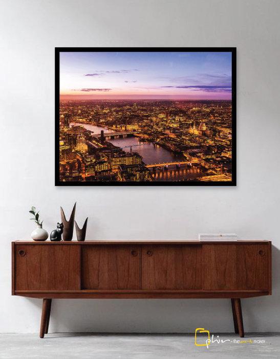 Sce 0021 London Skyline Wooden Frame Black 1